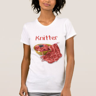 Knitter - Hand Knit Red Chenille Yarn T-Shirt