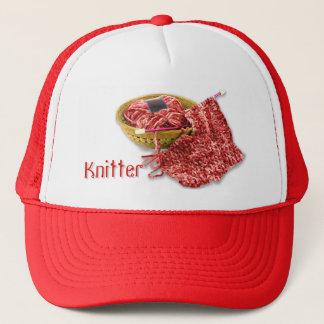 Knitter - Hand Knit Red Chenille Yarn Trucker Hat