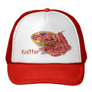 Knitter - Hand Knit Red Chenille Yarn Trucker Hat