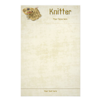 Knitter - Hand Knit Tan Chenille Yarn - Template Stationery