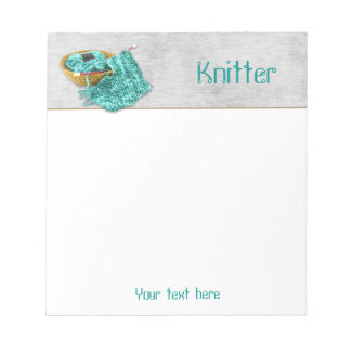 Knitter - Hand Knit Teal Chenille Yarn - Template Notepad