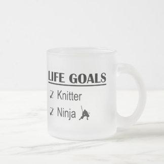 Knitter Ninja Life Goals 10 Oz Frosted Glass Coffee Mug