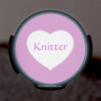 """Knitter"" on Orchid Stockinette - White Heart LED Car Decal"