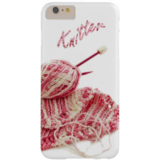 """""""Knitter"""" Pink and White Hand Knit Photo Barely There iPhone 6 Plus Case"""