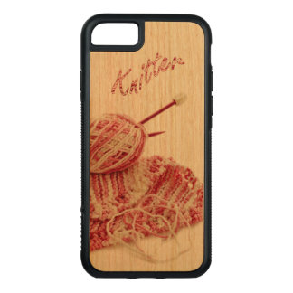 """""""Knitter"""" Pink and White Hand Knit Photo Carved iPhone 8/7 Case"""