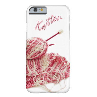 """""""Knitter"""" Pink and White Hand Knit Photo Barely There iPhone 6 Case"""