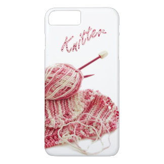 """Knitter"" Pink and White Hand Knit Photo iPhone 7 Plus Case"