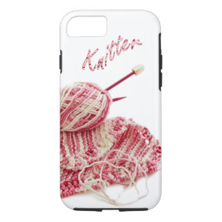 """""""Knitter"""" Pink and White Hand Knit Photo iPhone 8/7 Case"""