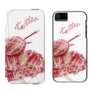 """""""Knitter"""" Pink and White Hand Knit Photo iPhone SE/5/5s Wallet Case"""