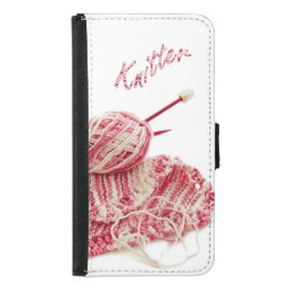 """""""Knitter"""" Pink and White Hand Knit Photo Samsung Galaxy S5 Wallet Case"""