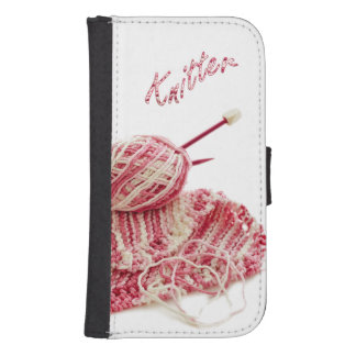 """""""Knitter"""" Pink and White Hand Knit Photo Samsung S4 Wallet Case"""