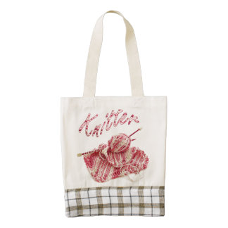 """""""Knitter"""" Pink and White Hand Knit Photo Zazzle HEART Tote Bag"""