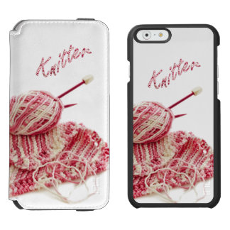 """Knitter"" Pink and White Hand Knitting iPhone 6/6s Wallet Case"