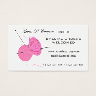 Knitter Pink Cute Yarn Balls & Needles Business Card