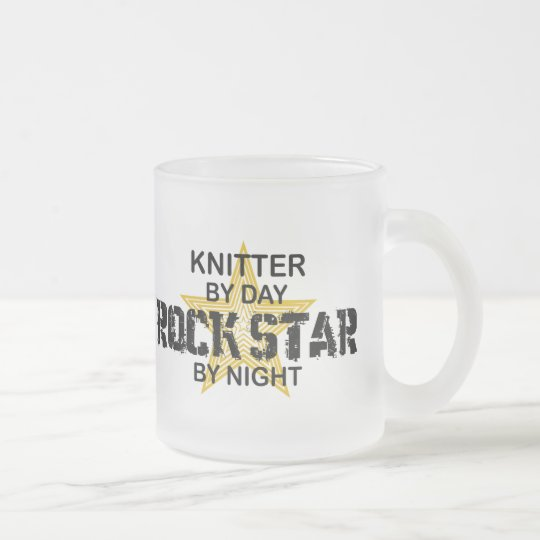 Knitter Rock Star by Night Frosted Glass Coffee Mug