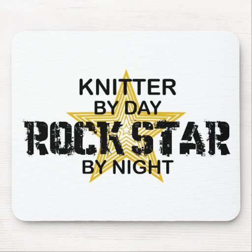 Knitter Rock Star by Night Mouse Pad