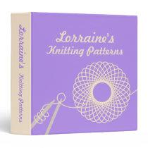 Knitters Knitting patterns purple & cream folder