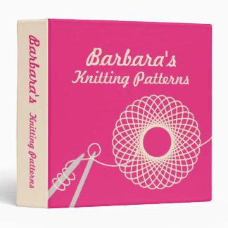 Knitters Knitting yarn pattern pink & cream folder