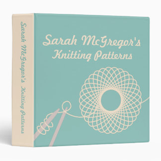 Knitters Knitting yarn pattern teal & cream folder Binders