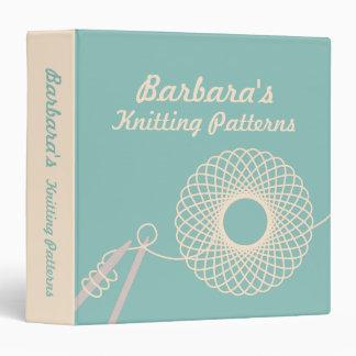 Knitters Knitting yarn pattern teal & cream folder Vinyl Binders