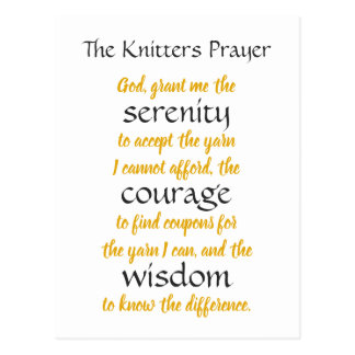 Knitters Prayer Funny Postcard