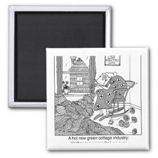 Knitting, a Green Cottage Industry 2 Inch Square Magnet