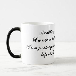 Knitting: a post-apocalyptic life skill 11 oz magic heat Color-Changing coffee mug
