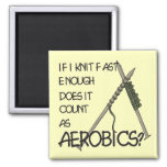Knitting Aerobics 2 Inch Square Magnet