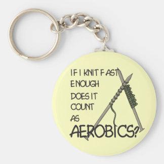 Knitting Aerobics Basic Round Button Keychain