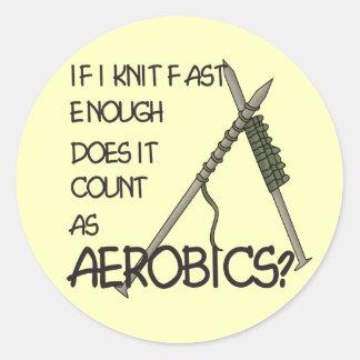 Knitting Aerobics Classic Round Sticker