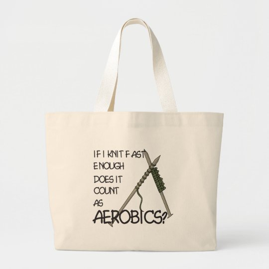 Knitting Aerobics Large Tote Bag