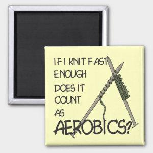 Funny Knitting Aerobics Magnet
