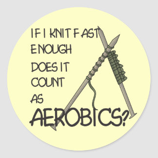 Knitting Aerobics Round Stickers