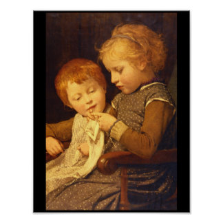 Knitting', Albert Anker_Groups and Figures Poster