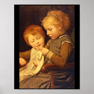 Knitting', Albert Anker_Groups y figuras Póster