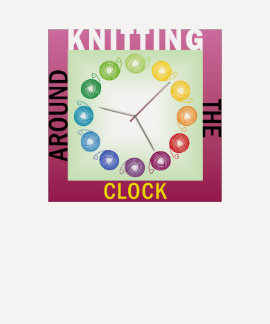 Knitting around the clock knitters shirt ENGLISH