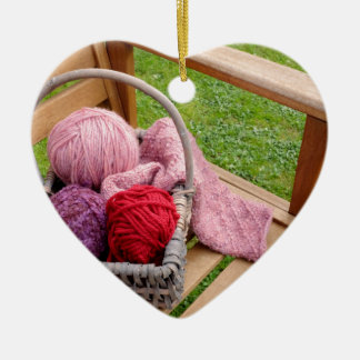 Knitting basket ceramic ornament