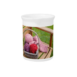 Knitting basket drink pitchers