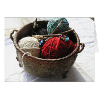 Knitting Basket Note Card with Ps 139