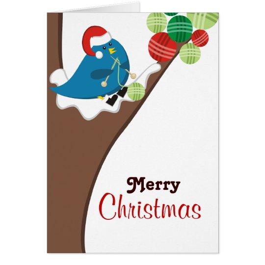 Knitting bird balls of yarn Christmas holiday card