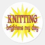 Knitting Brightens My Day Classic Round Sticker