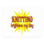 Knitting Brightens My Day Postcard