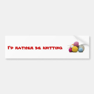 knitting bumper sticker