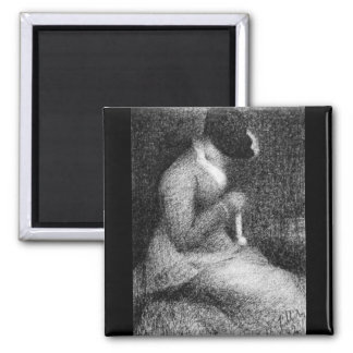Knitting by Georges Seurat 2 Inch Square Magnet