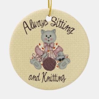 Knitting Cat Ceramic Ornament
