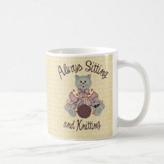 Knitting Cat Classic White Coffee Mug