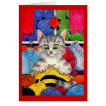 Knitting cat greeting or note card