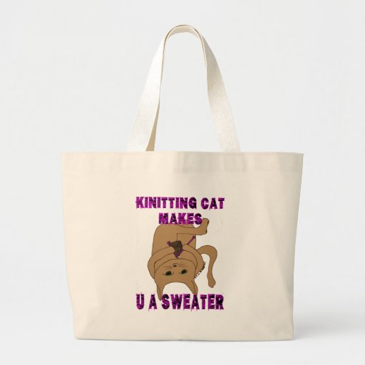Knitting Cat Makes U A Sweater Canvas Bag