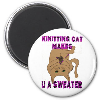 Knitting Cat Makes U A Sweater Magnet