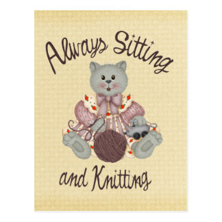 Knitting Cat Postcard
